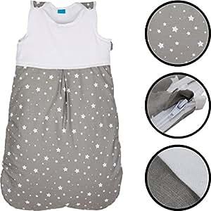 sommerschlafsack sterne 100 baumwolle schlafsack kind baby rmellos 70 cm baby. Black Bedroom Furniture Sets. Home Design Ideas