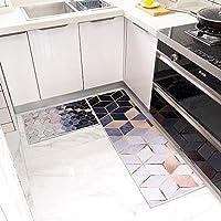 "Kitchen Mat Set, Machine Washable Non-Slip Kitchen Mats and Rugs Runner Set Rubber Backing Entry Floor Carpet Door Mat Runner(16""x48""+16""x24"")"