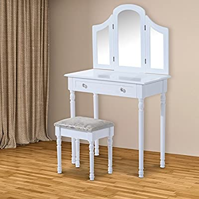 HOMCOM Large Dressing Table Wooden Vanity Set Furniture Wood Make Up Desk Cosmetics Drawer w/ 3 Mirrors & Stool White produced by Sold by MHSTAR - quick delivery from UK.