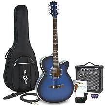 Guitarra Electroacústica Single Cutaway + Pack de Ampli de 15W - Azul