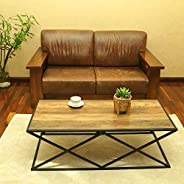 YATAI Wooden Center Table With Metal X-Shaped Base Frame - Coffee Table – Rustic Side End Center Table For Liv