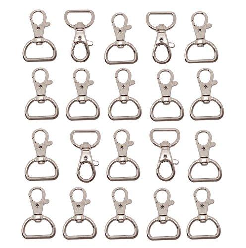 Preisvergleich Produktbild LIHAO Set 20 kleine abnehmbare Drehverschlüsse für Schlüsselringe Split Ring 25mm Edelstahl Karabinerhaken