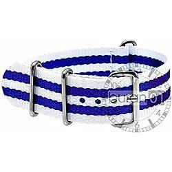 GENUINE BURAN01Military Nylon Watch Band with Dark Blue/White 22mm Watch Strap