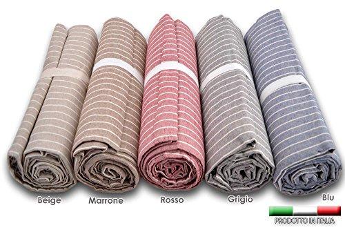 Centesimo web shop telo arredo copritutto 2 misure prodotto in italia gran foulard multiuso telo tuttofare copridivano - fantasia classica righe rigato - 260x280 cm grigio
