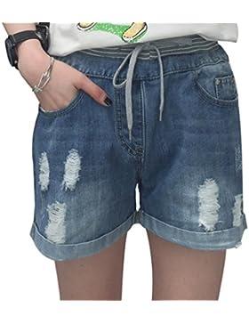 CHENGYANG Donna Elasticità Taglia Forte Pantaloncini Slim Shorts Medio Alta Vita Pantaloni Corti Jeans