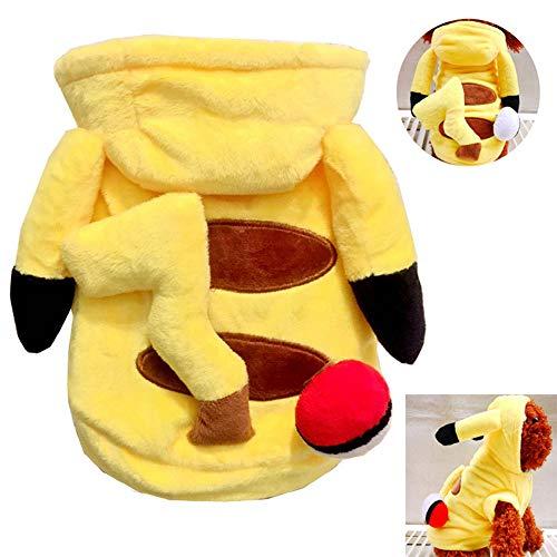 Haustiere Für Kostüm Pokemon - UTOPIAY Niedlicher Pokemon-Hund kleidet Halloween-Haustier-Kostüm-Welpen-Katzen-korallenroten VliesHoodie-Mantel Meine Nachbarn-neidische Kleidung,XS