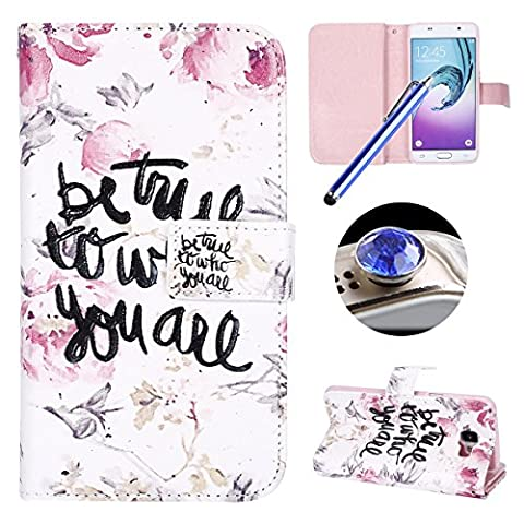 Galaxy A5 2016 Leather Case,Samsung Galaxy A5 2016 Wallet Case,Etsue Cartoon[Embossed Flower Petal Quote]Pu Magnetic Closure Wallet Flip Book Type Leather Protective Case Cover with Stand and 9 Card Slots+[1XBlue Stylus Pen]+[1XBling Glitter Diamond Dust Plug] for Samsung Galaxy A5 2016-Flower Petal