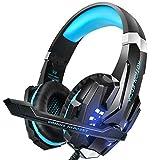 PS4Headset, Insmart PC Gaming Headset over-ear Gaming cuffie con microfono LED cancellazione del rumore e controllo del volume per laptop Mac Nintendo interruttore Xbox One PS4 nero Black & Blue G9000