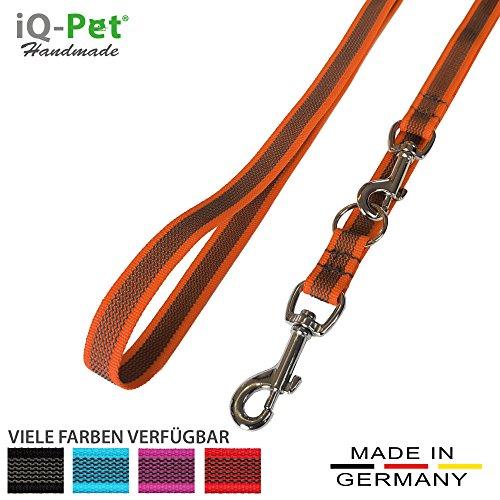 iQ-Pet Hundeleine Made IN Germany | 3-Fach verstellbar (2m - 1,20m) | Nylon, gummiert, in Signal-Farbe | sehr langlebig und robust | Hunde-Leine, Führ-Leine, Trainings-Leine, Doppel-Leine (Orange)