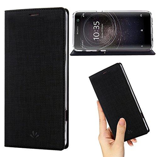 Sony Xperia XA2 hülle Leder,Premium Leder Flip Tasche Clear TPU Bumper Case mit Kartensteckpl schützen & Ständer Magnetverschluss Wallet Slim Fit dünn Schutzhülle für Sony Xperia XA2 (XA2, Black)
