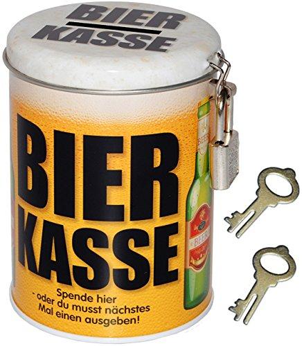 alles-meine.de GmbH Spardose -  Bier Kasse  - mit 2 Schlüssel und Schloss - stabile Sparbüchse aus Metall - Geld Sparschwein / Blechdose - Bierfass Bierkrug / Bierdose - Jungge.. -