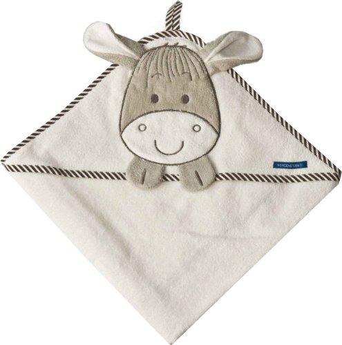 Morgenstern Kapuzentuch 100 x 100 cm mit Esel-Motiv für Kinder Babys beige