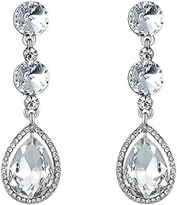 Bella novia para mujer Rhinestone pendientes de cristal pendientes de gota para boda fiesta
