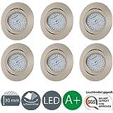 Lámpara LED de Foco/Instalación De Instalación/Instalación De Foco/orientable/LED/5W/400lúmenes/níquel mate, 6er Set matt-nickel 5.00 watts 230.00 volts[Clase de eficiencia energética A+]