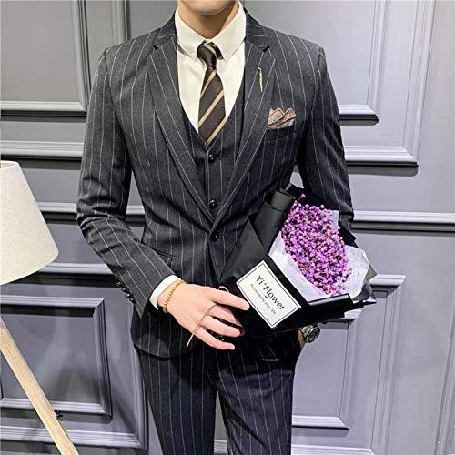 GFRBJK Gestreiftes Kostüm Homme Slim Suit Herren Business Freizeitkleidung Formal Homme Mariage 3-teilig , Schwarz , - Kostüm Homme Slim