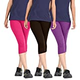 Rooliums Super Fine Cotton Lycra Women's Capri Leggings Combo (Brand Factory Outlet) Pack of 3 - FREE SIZE (Pink,Dark Brown,Purple)