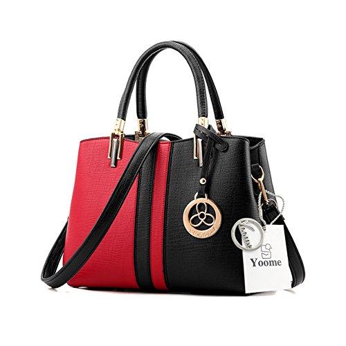 Yoome Contrast Colore Borse a tracolla in grande capacità borsa da tracolla New Chic Bags For Women - P.Grey B.Red