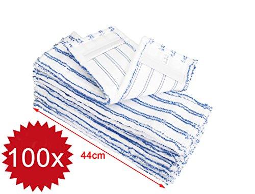 100x Microfasermöppe für Business   Wischmöppe für 40cm Mopphalter   Wischbezüge mit Abrasivstreifen   Taschenbezüge für Gastro, Hotel, Büro, Schule, Krankenhaus Beläge Für Die Schule