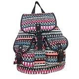 JameStyle26 Zickzack Vintage Rucksack Tasche Boho Canvas Stoff Backpack Damentasche Sack Unisex (Pink Weiß)