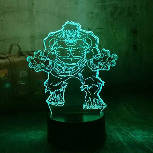Veilleuse 3D Marvel The Avengers Super-héros Minifigures The Hulk 3D LED RGB 7 Changement de Couleur Nuit Lumière Couleur Bureau Bébé Sommeil Lampe Garçon Enfant Cadeau