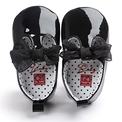 FEITONG Baby Bowknot Leder Schuhe Sneaker Anti-Rutsch Soft Sole Kleinkind (13, Rosa) Schwarz