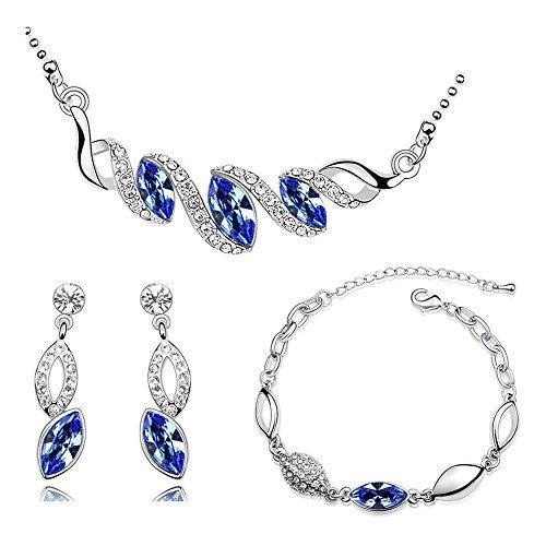 S497 Parure avec collier, boucles d oreilles et bracelet avec motif en  forme de bf0e53f3c96a