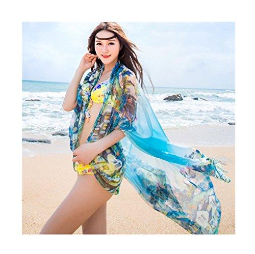 UK_Stone Damen Übergroesse Modisch Sarong Pareo Strandtuch Wickeltuch Bikini Sonnenschutz Decke Cover-up Dorf Blau