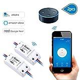 EVILTO Sonoff DIY Wireless Smart Switch Smart Home Controllato Interruttore Intelligente WiFi Domestica Telecomando per iOS Android App Elettrodomestico (2 Pcs)