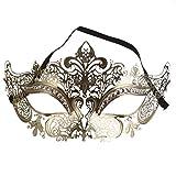 ShineBlue Masquerade Maske Filigrane Metall Eyemask mit Rhinesones für Frauen Kostüm Maskenball Fancy Party 1 (Gold)