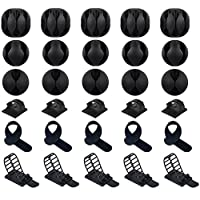 Cable Clips, 30 Pcs Cable Organizer Including 25pcs Adhesive Cord Holders and 5pcs Cable Ties for Cable, Charging & Mouse Cord, Cable Management System