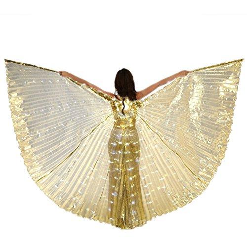 Kostüm Festzug Für Flügel - LED Bauchtanz Isis Wings 360 Grad Mit Teleskop Sticks Für Damen,Gold,Adult