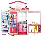 Barbie Mobilier coffret maison 2 étages et 4 pièces avec accessoires et une poupée...