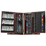 pomelogreem Künstler Buntstifte,174 Holzkisten-Mal-Set, Kinder-Malwerkzeuge, Buntstifte, Ölpastelle,Lehrer & Schüler