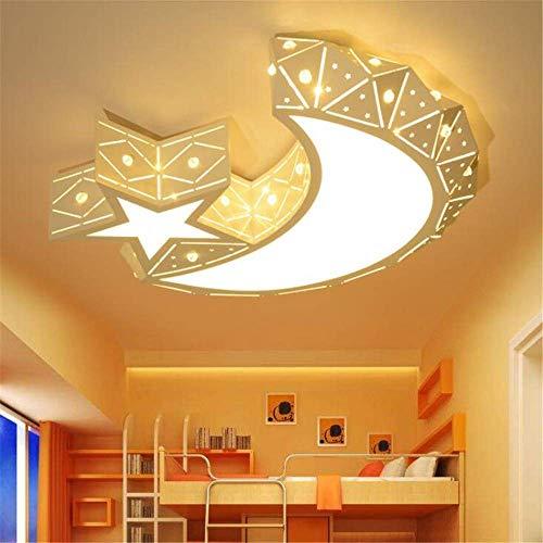 BDYJY ® Deckenleuchten LED-Kronleuchter Stern Mond Dimmable Deckenventilator Pendelleuchte Für Kinder Junge Mädchen Schlafzimmer Deckenleuchte E27 Weiß 110V-240V 48W Warmweiß Neutral Lichtfarben (Deckenventilator 48 Weiß)