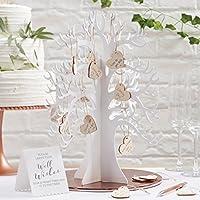 Ginger Ray Beautiful Botanics - Árbol de los deseos para invitados de boda, con corazones, madera
