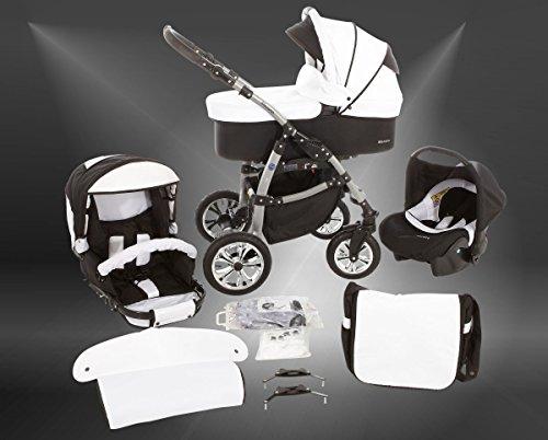 Milk Rock Baby Macano S Kinderwagen Safety-Sommer-Set (Sonnenschirm, Autositz & ISOFIX Basis, Regenschutz, Moskitonetz, Schwenkräder) MO56 Silver/Pepper & Salt