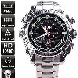 Electro-Weideworld - Cámara Espía Reloj 1080P con la visión nocturna y impermeable Mini Watch DV 32GB
