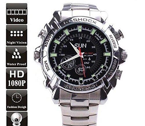 Este reloj de la cámara es para diario impermeable, no se usarlo bajo el agua.  Especificaciones:   Resolución de vídeo: 1920x1080P  Resolución de fotos: 4032x3024  formato de vídeo: AVI  formato de imagen: JPG  formato audio-: WAV  Interfaz: USB 2.0...