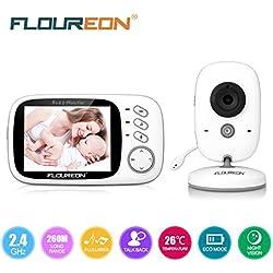 FLOUREON VB603 - Vigilabebé inalámbrico con cámara digital (LCD de 3.2'', 2.4 GHz, visión nocturna por infrarrojos, diálogo bidireccional), color blanco