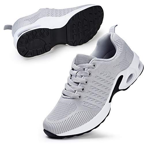 STQ Damen Walking Schuhe Mesh Atmungsaktiv Laufschuhe Air Leichte Outdoor Fitness Schnürschuhe Sportshuhe (Grau 40 EU)