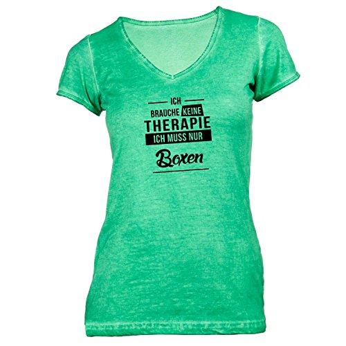 Damen T-Shirt V-Ausschnitt - Ich Brauche Keine Therapie Boxen - Therapy Sport Training Grün