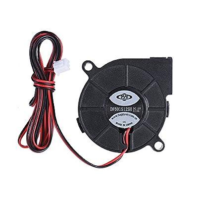 Aibecy 12V DC 50mm 3D Drucker Lüfter, Turbine Gleichstrom Gebläse Kleiner Kühler Fan, Schlag Radial Hot End Extruder für RepRap i3 3D Drucker Zubehör