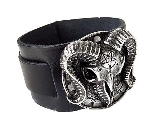 Alchemy gothic Gears of Aiwass Pagan Goat Skull bracciale in pelle
