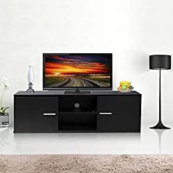tinkertonk Eco-friendly MDF TV Cabinet LCD Unit Stand,Black With 2 Cabinet Plus A 2-Tier Shelf,120cm Unit