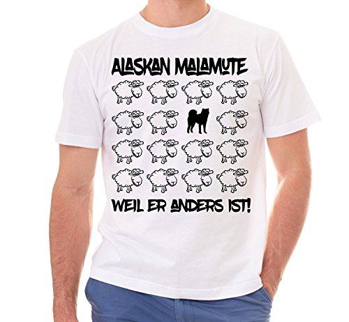 Siviwonder Unisex T-Shirt BLACK SHEEP - ALASKAN MALAMUTE - Hunde Fun Schaf Weiß