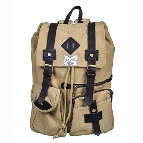 Vintage Rucksack aus Canvas / Segeltuch für Frauen und Männer - In Retro-Optik für Uni, Reisen, Sport oder Outdoor-Aktivitäten mit einer großen Kapazität - Als Handgepäck geeignet - Beige-