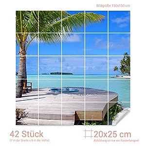 GRAZDesign 765014_20x25_150 Fliesenaufkleber für Bad | Klebefolie selbstklebend | alte Fliesen überkleben | Bild Motiv Traumstrand mit Palmen (Fliesenmaß: 20x25cm (BxH) // Bild: 150x150cm (BxH))