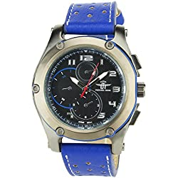MICHAEL JOHN -MENS WATCH BLACK BLUE Quartz Stainless Still Case Analog Display FAUX LEATHER BLUE BAND