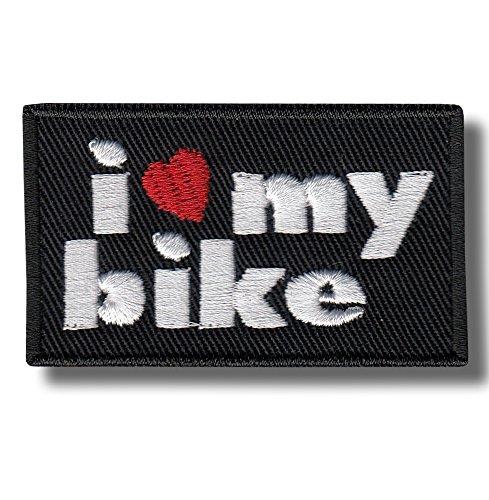 I Love My Bike - Bestickter Aufnäher, Patch 6x4 cm Jacke Patch-bike
