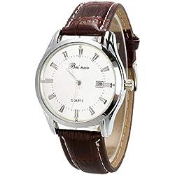 Wrist Watch - Beinuo Men Boy Sport Analog Quartz Alarm Auto Day Date Display Wrist Watch Leather band White+Coffee